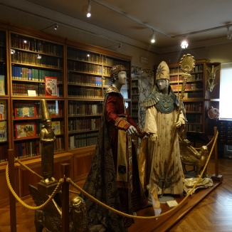 costumes on display in the library
