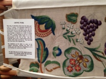 Embroidery on dislaly at Blickling
