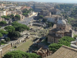 the ruins of the Basilica of Julia from the top of Vittoriano