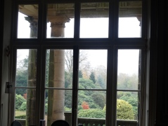 Looking out from the entrance at the garden