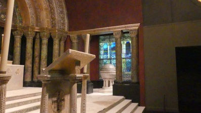 glass baptismal font