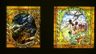 stained glass panel of two of the 4 seasons